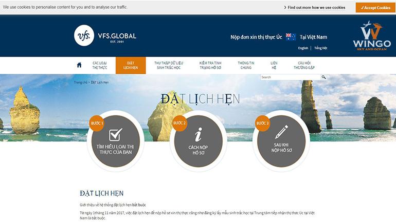 đặt lịch hẹn xin visa Úc với VFS.GLOBAL